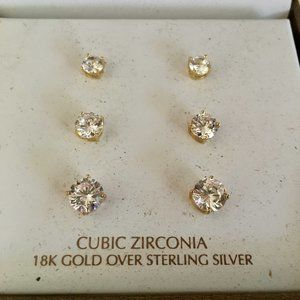 Take 50% off!  18k gold/S. Silver CZ Earrings (E7)